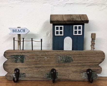Beach 3 Hooks Bathroom | Hallway Wooden Coat Storage Nautical Beach House